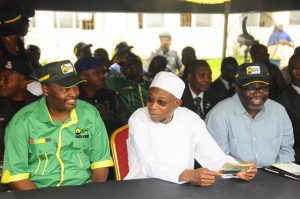 (From  right) State of Osun Commissioner for Agriculture and Food Security,  Mr Adewale Adedoyin, Governor Rauf Aregbesola and Dr Charles Akinola, Director of General Office of Economic Development and Partnership, during the launching of the 2nd  Edition of Osun Rural Enterprise and Agriculture Programme (O-REAP)Youth Academy, at State House Secretariat, Abere, State of Osun on Thursday 29-08-2013