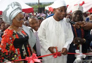 From left, State of Osun Deputy Governor, Mrs Titi Laoye-Tomori; Governor State of Osun, Ogbeni Rauf Aregbesola; Chairman, Omoluabi Garment Factory-Sam and Sara, Hon. Adeniyi Oyemade and the Timi of Ede, Oba Muniru Lawal, during the Commissioning of the Garment Factory at Abere, Osogbo, State of Osun on Monday 26-08-2013