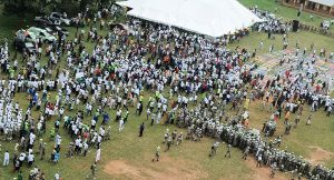 Crowd setting for exercise, during the 12th Edition of Walk to live for healthy living programme of the State of Osun Government, at Urban Day Grammar School, Ijebu-Ijesa, Oriade Local Government, State of Osun on Saturday 31-08-2013