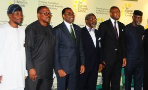 From Left - Governor State of Osun , Ogbeni Rauf Aregbesola; Anambra State Governor, Mr. Peter Obi , Minister for Agriculture , Dr. Akinwumi Adesina ,Chairman Nigerian Economic Summit Group, Mr. Folorunso Pillps , Managing Director Access Bank ,Mr. Aig Imoukhuede and Cross River State Governor, Senator Liyel Imoke  during the 19th Nigerian Economic Summit, at Transcorp Hilton Abuja, on Wednesday 04 – 09 – 2013  .