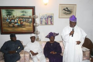 From left. Governor of Ekiti State Dr Kayode Fayemi; his Osun counterpart, Ogbeni Rauf Aragbesola; Daughter of the first female Head of Service, Old Western Region (late Tejumade Alakija); Mrs Toyin Akomolafe and Governor of Oyo State Senator Abiola Ajimobi, during a condolence visit to the Family of late (Mrs) Tejumade Alakija by the Governors in Ibadan Oyo State last week Thursday