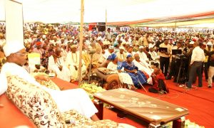 Governor State of Osun, Ogbeni Rauf Aregbesola, during the a public assessment, tagged- Gbangbadekun, held at Baptist Primary School, Ila-Orangun on Tuesday 03-09-2013