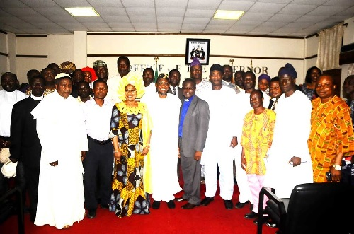 THE STATE OF OSUN CHRISTIAN ASSOCIATION OF NIGERIA, CAN, GOV. RAUF ADESOJI AREGBESOLA, DEPUTY, OTUNBA TITILAYO TOMORI AND OTHER GOVERNMENT FUNCTIONARIES AFTER THE TRUCE MEETING BETWEEN BOTH PARTIES