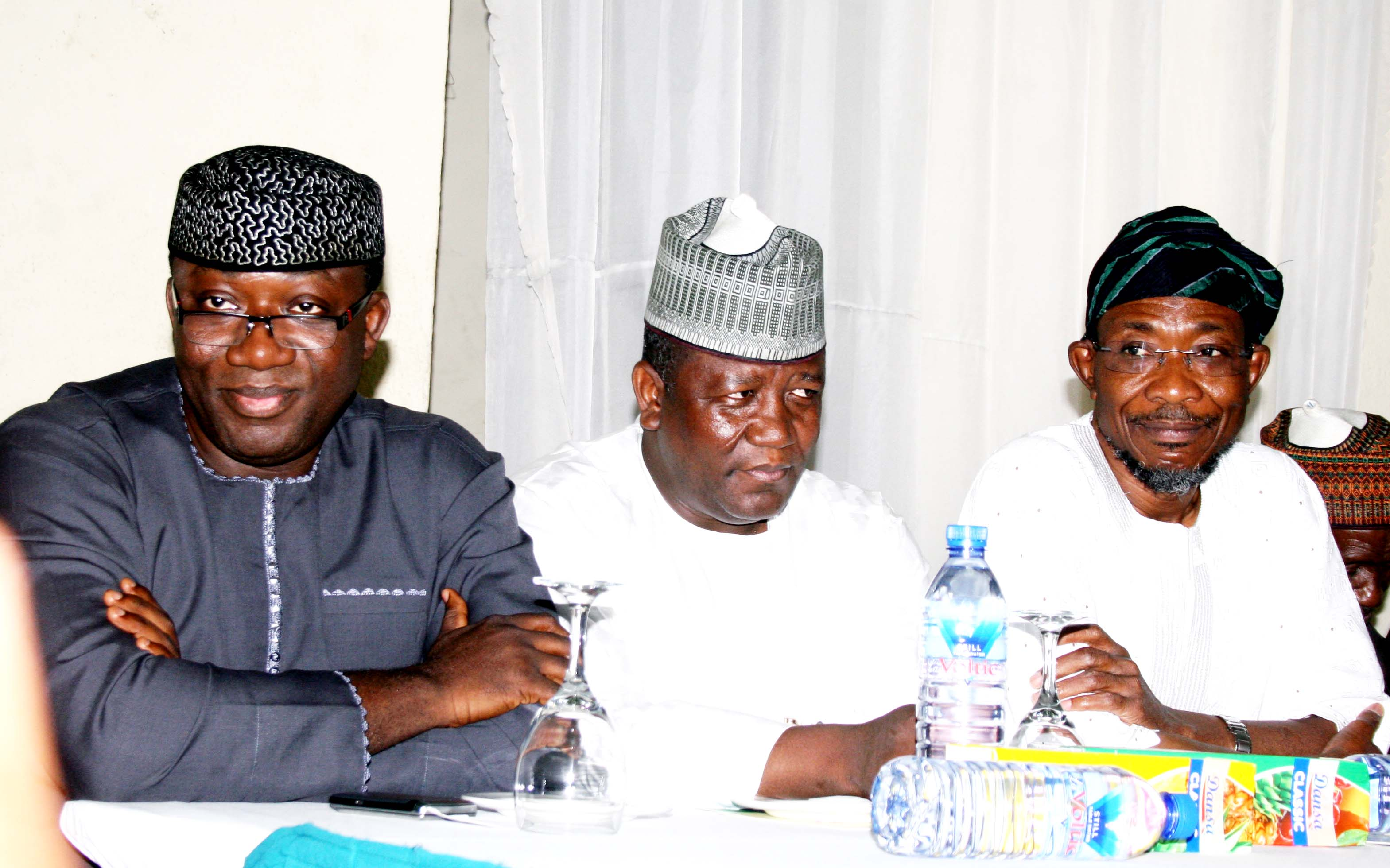 From right -Governor State of Osun; Ogbeni Rauf Aregbesola, his  Zamfara State counterpart,  Abdul'aziz Abubakar Yari and their Ekiti State counterpart, Dr. Kayode Fayemi during The Book Presentation,  tiitled: Isa Ayo Salami: Through Life and Justice In Honour of Honourable Justice Isa Ayo Salami, at Nicon Luxury Hotel, Garki Area 8, Abuja on  Wednesday 30th October, 2013