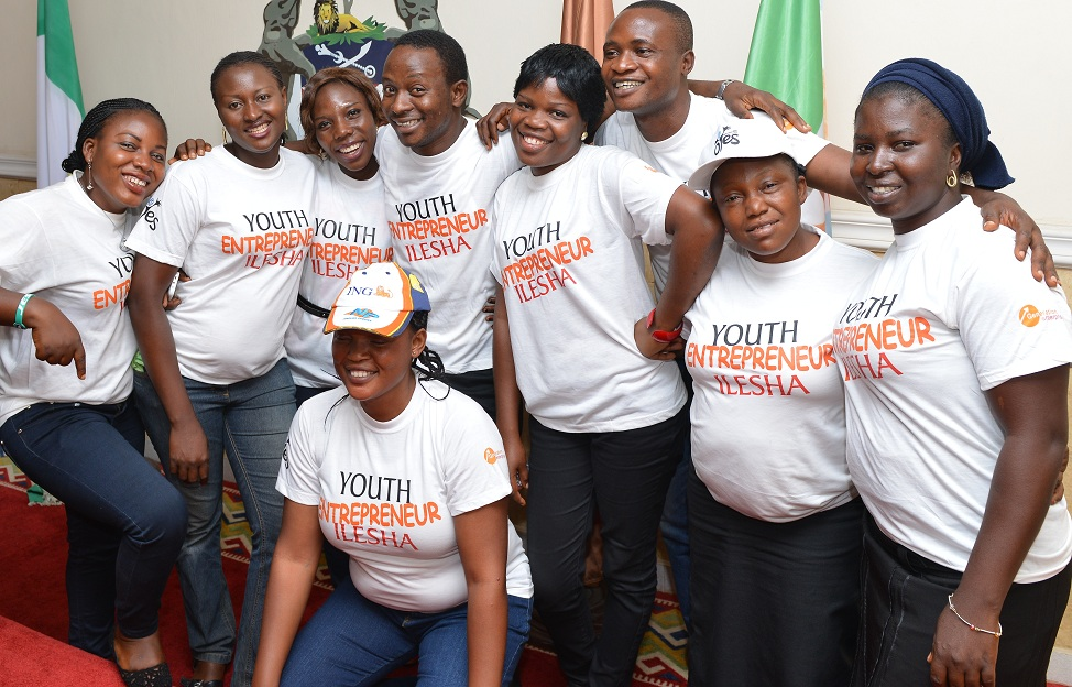 Participant of investment training, Ogedengbe Beatrice (lef);  Abiola Oluwaseun (front); Oyewale Micheal (3rd right) and other O-Yes Cadets who participated in Goodness Insecticide and airfreshner making project,  during the graduation and presentation on Investment for Osun Youth Empowerment Scheme (O-Yes) Cadets from Ilesha, held at Governors office, Abere, Osogbo, State of Osun , at the weekend