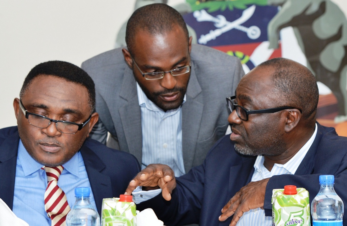 From right, Director General, Bureau of Economic Development and Partnership, State of Osun, Dr. Charles Akinola; Managing Director, Generation Enterprise, Mr Bunmi Otegbade and One of the Coordinators of O-Yes, Mr Femi Faturoti,  during the graduation and presentation on Investment for Osun Youth Empowerment Scheme (O-Yes) Cadets from Ilesha, held at Governors office, Abere, Osogbo, State of Osun, at the weekend