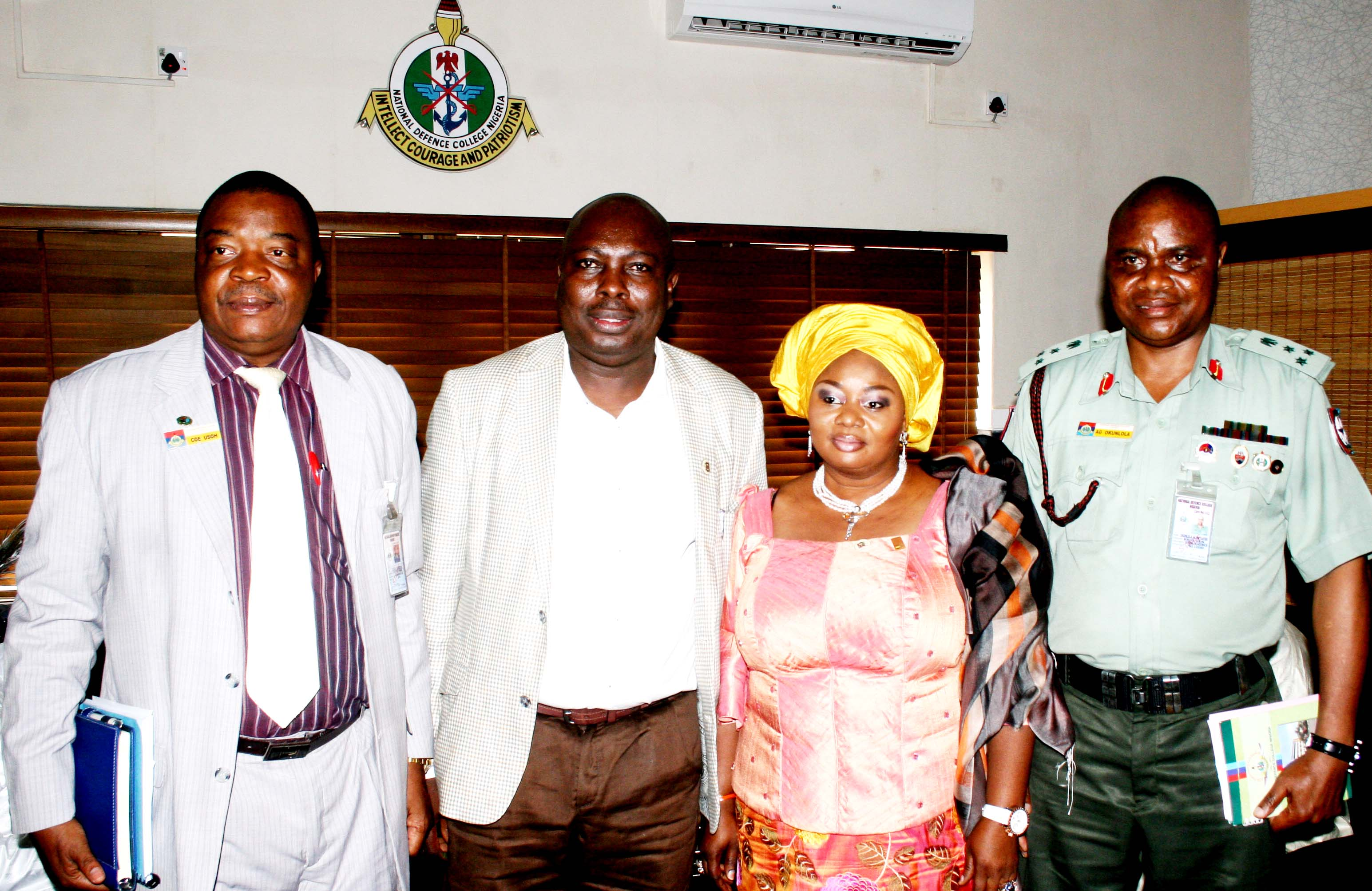 From  Left .National Defence College, Abuja Course 22 participants Presentation Team Coordinator;Air Commodore Charles Usoh,Commissioner for Information and Strategic State Of Osun; Mr. Sunday Akere, Special Adviser To The Governor on Federal Matters, State of Osun; Hon Babalola Idia (representing the State Governor) and Presentation Team Leader; Brigadier General Alani Okunlola, during National Defence College, Abuja Course 22 Presentation of Geo- Strategic Tour of the State of Osun,  at the College Premises, Abuja on Tuesday 29-10-2013.