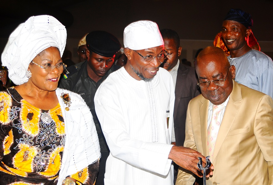 From left, Deputy Governor State of Osun, Mrs Titi Laoye-Tomori;  Governor, Ogbeni Rauf Aregbesola and Deputy Governor Abia State, Sir Emeka Ananaba and others, during the presentation of Best Governor in Urban and Rural Development Best Governor in Youth and Sports Development Award  on Governor Aregbesola at Businessday States Competitiveness and Good Governance Awards 2013, at Federal Palace Hotel Victoria Island, Lagos State on Wednesday 13-11-2013