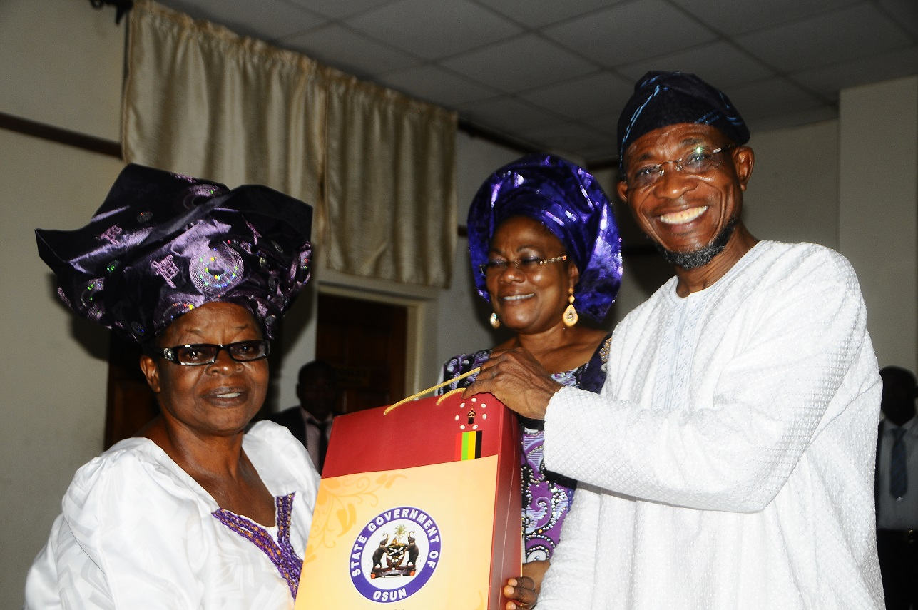 Right – Governor State of Osun, Ogbeni Rauf Aregbesola [Middle] Deputy Governor State of Osun , Otunba Titi Laoye – Tomori and Leader Good Women Ijesa District Co-coordinating Council ,Lady Evang. Orimogunje Kehinde during a courtesy visit to the Governor , at Governors office Abere ,on 1/11/2013.