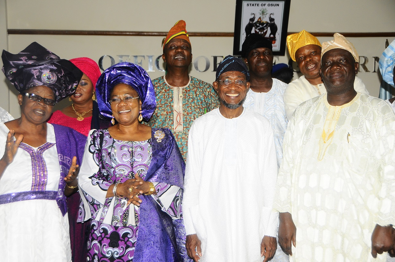 From Right – General Executive Member Ijesa District Co-coordinating Council ,Elder Jacob Adebiyi, Governor State of Osun, Ogbeni Rauf Aregbesola, Deputy Governor State of Osun , Otunba  Titi Laoye – Tomori and Leader Good Women Ijesa District Co-coordinating Council ,Lady Evang. Orimogunje Kehinde during a courtesy visit to the Governor , at Governors  office Abere ,on 1/11/2013.