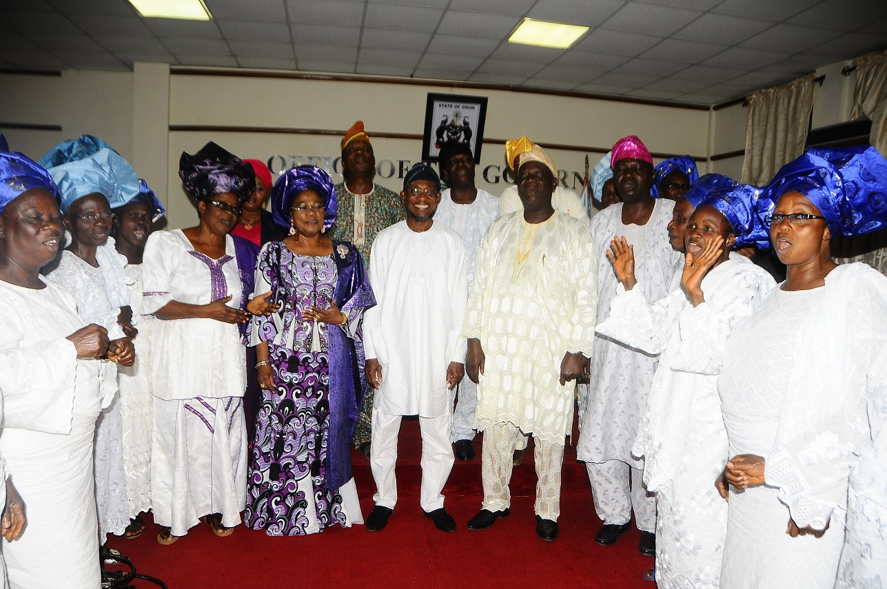 From – [Middle] Governor State of Osun, Ogbeni Rauf Aregbesola [left] General Executive Member Ijesa District Co coordinating Council ,Elder Jacob Adebiyi, [right] Deputy Governor State of Osun , Otunba  Titi Laoye – Tomori [4th right] Leader Good Women Ijesa District Co-coordinating Council, Lady Evang. Orimogunje Kehinde and others during a courtesy visit to the Governor , at Governors office Abere on 1/11/2013.