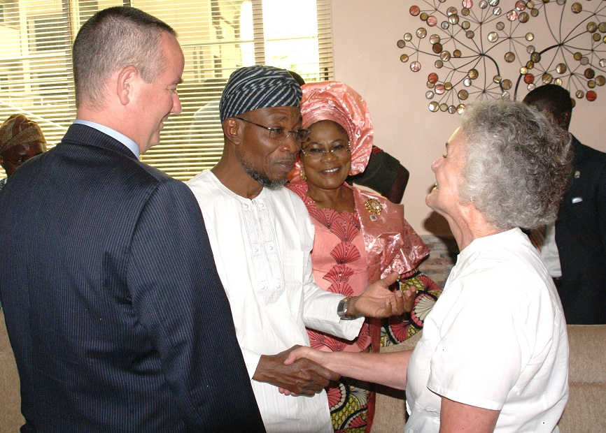 From left, United State of America Consul-General in Nigeria, Mr. Jeffery Hawkins; Governor State of Osun, Ogbeni Rauf Aregbesola; his Deputy, Mrs Titi Laoye-Tomori and mother of Consul-General, Mrs Susan Westen at Ideal Nest, Osogbo, during their visit to the State of Osun  on Thursday 07-11-2013