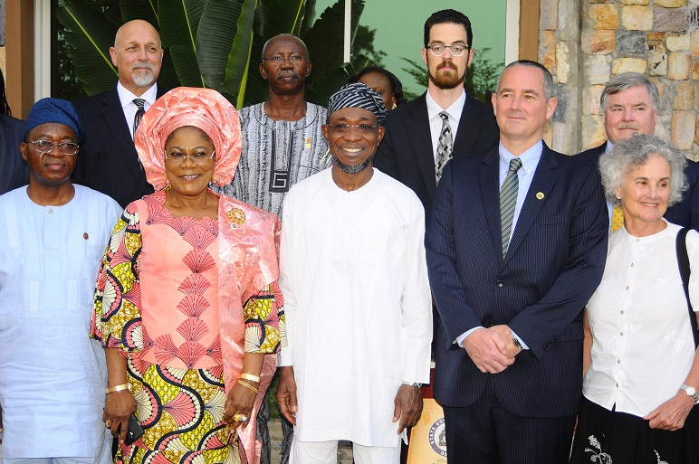 United State of America Consul-General in Nigeria, Mr. Jeffery Hawkins (2nd right)Governor State of Osun, Ogbeni Rauf Aregbesola (middle); his Deputy, Mrs Titi Laoye-Tomori and mother of Consul General, Mrs Susan Westen (right); Chief of Staff to the Governor, Mr Gboyega Oyetola (left) and others, at Ideal Nest, Osogbo, during Consul-Generals visit to the State of Osun  on Thursday 07-11-2013