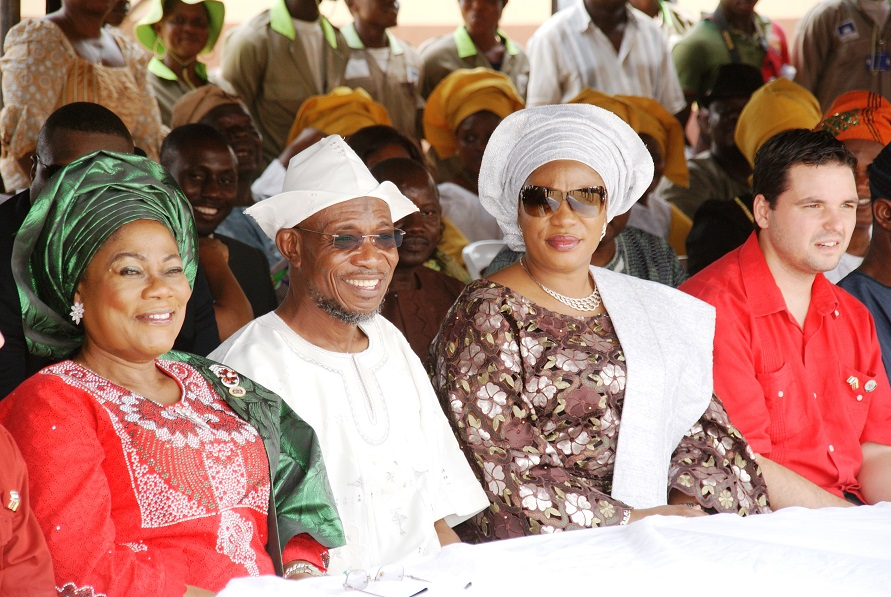 From left, Deputy Governor State of Osun, Mrs Titi Laoye-Tomori; Governor Rauf Aregbesola; his Wife, Alhaja Sherifat Aregbesola and Minister Counselor, Embassy of the Bolivarian Republic of Venezuela, Miguelangel Vecchia, at the Distribution of free Education Materials by the Venezuelan Ambassador in the Country  to Students in Public Schools, commemorating 3rd years Anniversary of Aregbesola's Administration,  at Anthony Udofia Elementary School, Osogbo, State of Osun on Wednesday 27-11-2013