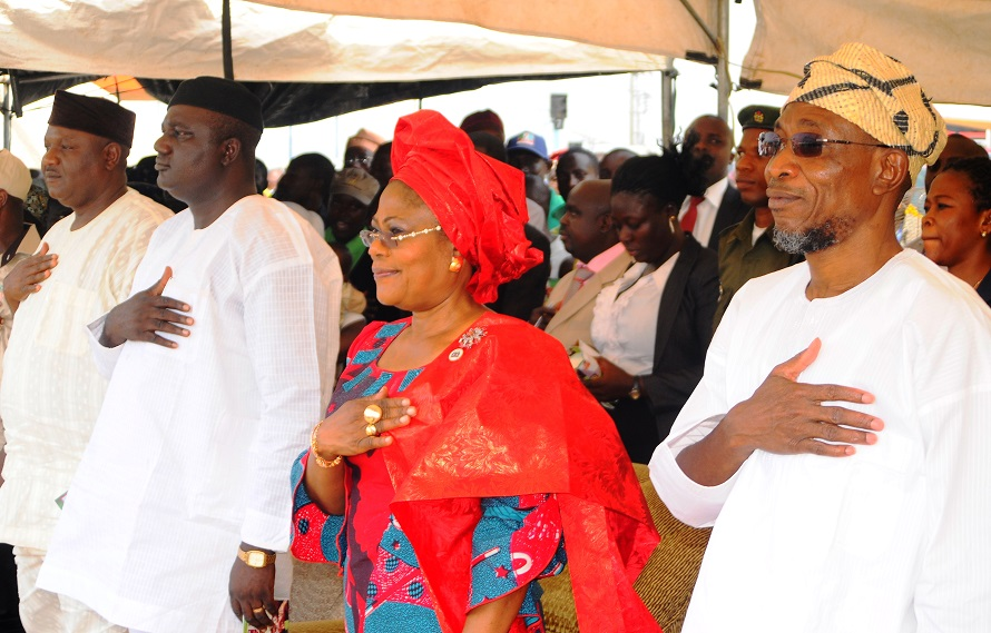 From right, Governor State of Osun, Ogbeni Rauf Aregbesola; his Deputy, Mrs Titi Laoye-Tomori; Chairman, All Progressive Congress (APC) Osun chapter, Elder Adelowo Adebiyi and Secretary Osun APC, Prince Gboyega Famodun, during the Presentation of Support vehicles and Endorsement of Governor Aregbesola for Second term running by the Councillorship Forum 332 at Freedom Park, Osogbo the State of Osun, on Tuesday 05-11-2013