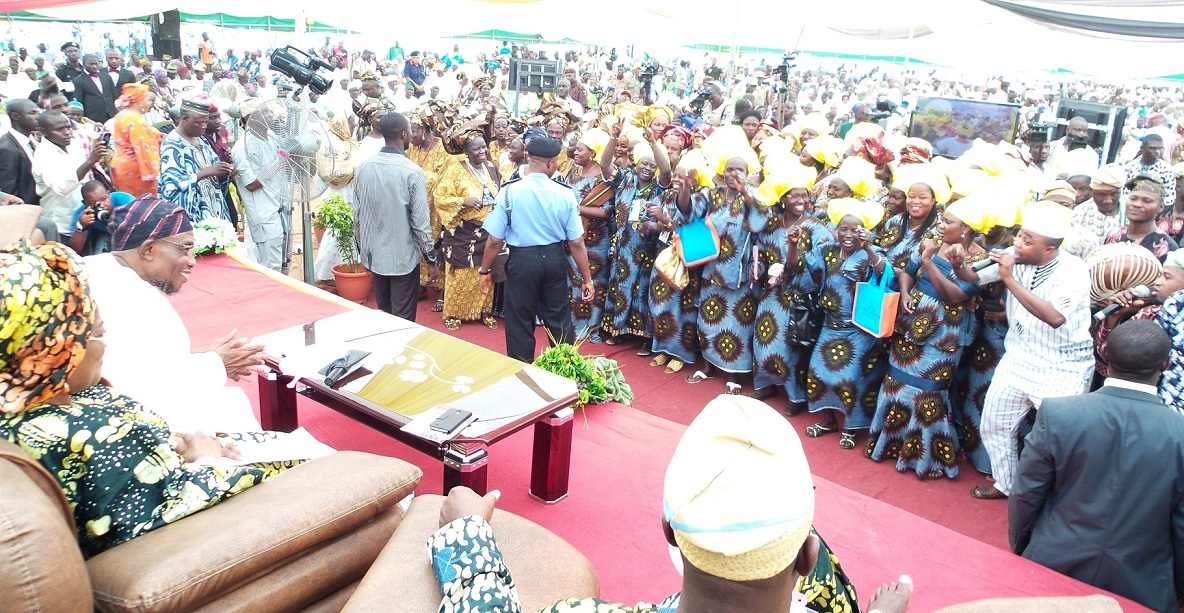 Governor, State of Osun, Ogbeni rauf Aregbesola and his deputy, Mrs Titi Laoye-Tomori (left), during the Governor's appearance at the Gbangbadekun—Public assessment on the Governor, at the Seventh Day Adventist Grammar  School, Ede, the State of Osun on Thursday 31-10-2013