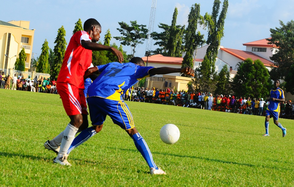 Shows Football skills which ended in 1-0 in favour of Orolu, during a football competition between Ede South Football Club and Orolu Fooball Club, tagged:  Governor Aregbesola's Cup, marking the 3rd year Anniversary celebration of Aregbesola's Administration, at Oba Olasore Oladele's Royal Park, Playing Ground, Iloko-Ijesa on Tuesday 26-11-2013