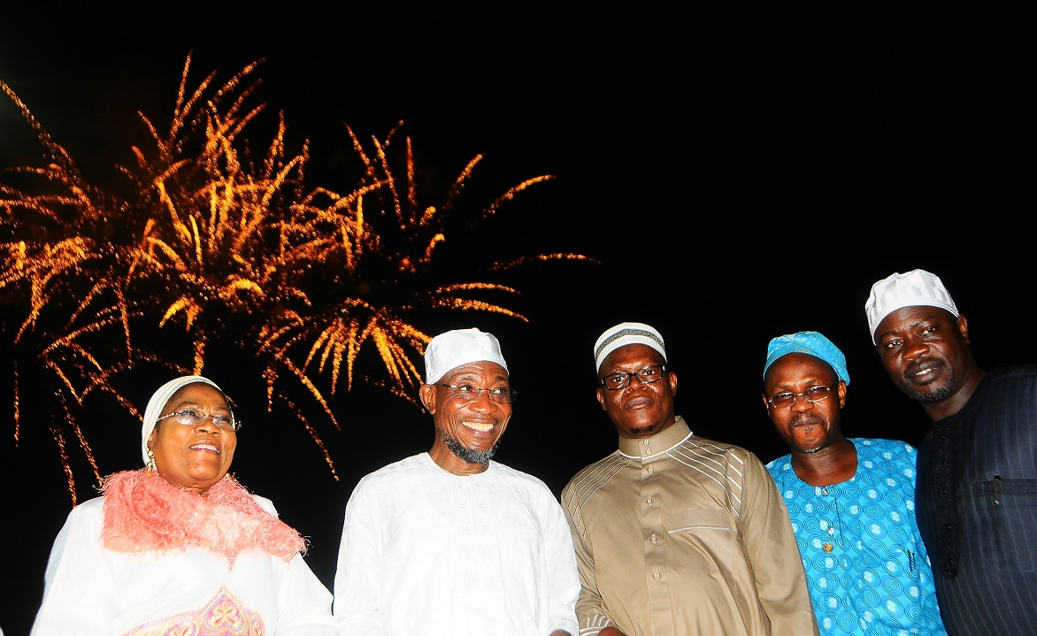From left, Deputy Governor, State of Osun, Mrs Titi Laoye-Tomori; Gov Rauf Aregbesola; Commissioner for Special Duties and Regional Integration, Barrister Ajibola Bashir; his Home and Affairs counterpart, Hon. Sikiru Ayedun and Works and House Commissioner, Engr Sabitu Oladepo Amuda, during the celebration of New Islamic Calendar Year (Hijrah 1435), held at Freedom Park, Osogbo, State of Osun on Sunday evening 03-11-2013