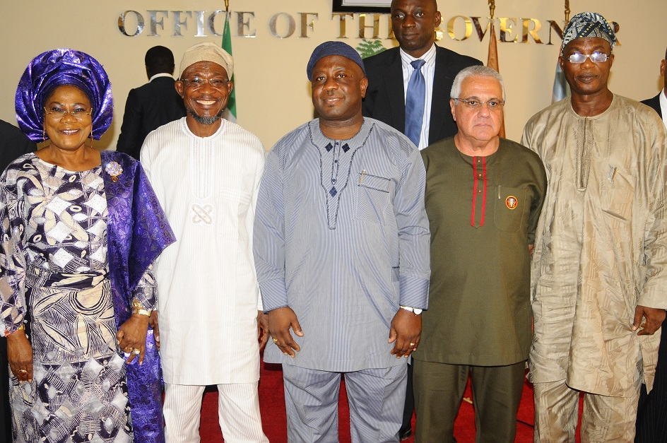 From left, Deputy Governor State of Osun, Mrs Titi Laoye-Tomori; Governor, Ogbeni Rauf Aregbesola; Chairman International Breweries plc Ilesa (IBPLC), Otunba Michael Daramola; Chief Operating Officer (IBPLC), Mr Carlos Gomez; Secretary to the State Government, Alhaji Moshood Adeoti and others, after the signing of Memorandum of understanding between the Government of Osun and the Company at Governor's office, Abere via Osogbo, the State of Osun on Wednesday 20-11-2013