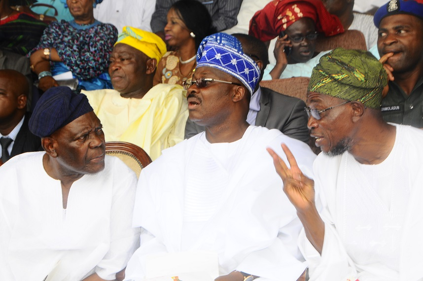 From Right* – Governor State of Osun, Ogbeni Rauf Aregbesola; Oyo State Governor, Senator Abiola Ajimobi and All Progressive congress National Chairman, Chief Bisi Akande during the one year remembrance of the former Governor of Oyo State, Late Alhaji Lamidi Adesina at Lekan Salami Stadium, Adamasingba Ibadan,Oyo state on Monday 11/11/2013.