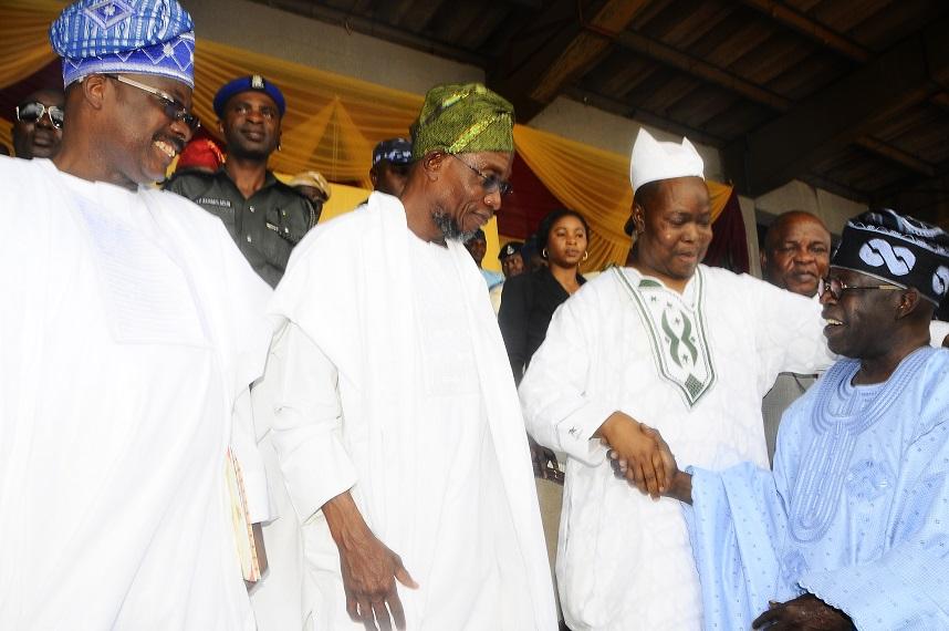 From Left* - Oyo State Governor, Senator Abiola Ajimobi; Governor State of Osun, Ogbeni Rauf Aregbesola and Aare Muslim of Yoruba land, Alhaji Arisekola Alao during the one year remembrance of the former Governor of Oyo State, Late Alhaji Lamidi Adesina at Lekan Salami Stadium, Adamasingba Ibadan,Oyo state on Monday 11/11/2013.