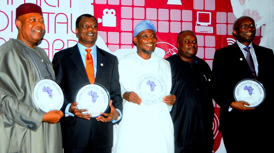 Governor State of Osun, Ogbeni Rauf Aregbesola [3rd Left]; Chief Executive Officer of Computer Warehouse group [CEO] Mr. Austin Okere [2nd Left]; Former National President of the Association Telecommunication Companies of Nigeria [ATCON]; Engr. [Dr] Emmanuel Ekuwem [Left] Coordinators Mr. Tayo Adewusi [2rd Right] and Professional Telecommunication Engineer, Corporate, Entrepreneur and Business Management Trainer, Engineer [Dr] Ernest Ndukwe [right], during the induction of Governor Aregbesola into the Hall of Fame for Africa Digital Awards, at Sheraton hotel Lagos on Sunday 8/12/2013