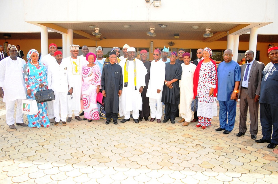 Governor State of Osun, Ogbeni Rauf Aregbesola (7th right); his Imo State Counterpart, Governor Rochas Okorocha (7th left); Deputy National Secretary All Progressive Congress, Mallam Nasir El-rufai (6th left); APC Chieftain, Chief Audu Ogbe (8th left); Former Aviation Minister, Femi Fani-Kayode (4th left); Ogun State All Progressive Congress (APC) Leader, Chief Olusegun Osoba (6th right); Imo State Deputy Speaker, Donatus Ozoemena (3rd left); APC National Organising Secretary, Senator Osita Izunaso (3rd right); National Women Leader, Mrs Sharon Ikeazor  (5th left); Interim Chairman Osun APC, Elder Adebiyi Adelowo (left) and others, during the All Progressive Congress National Mobilisation Committee's Visit to Osun at Government House, Osogbo, State of Osun on Tuesday 10-12-2013