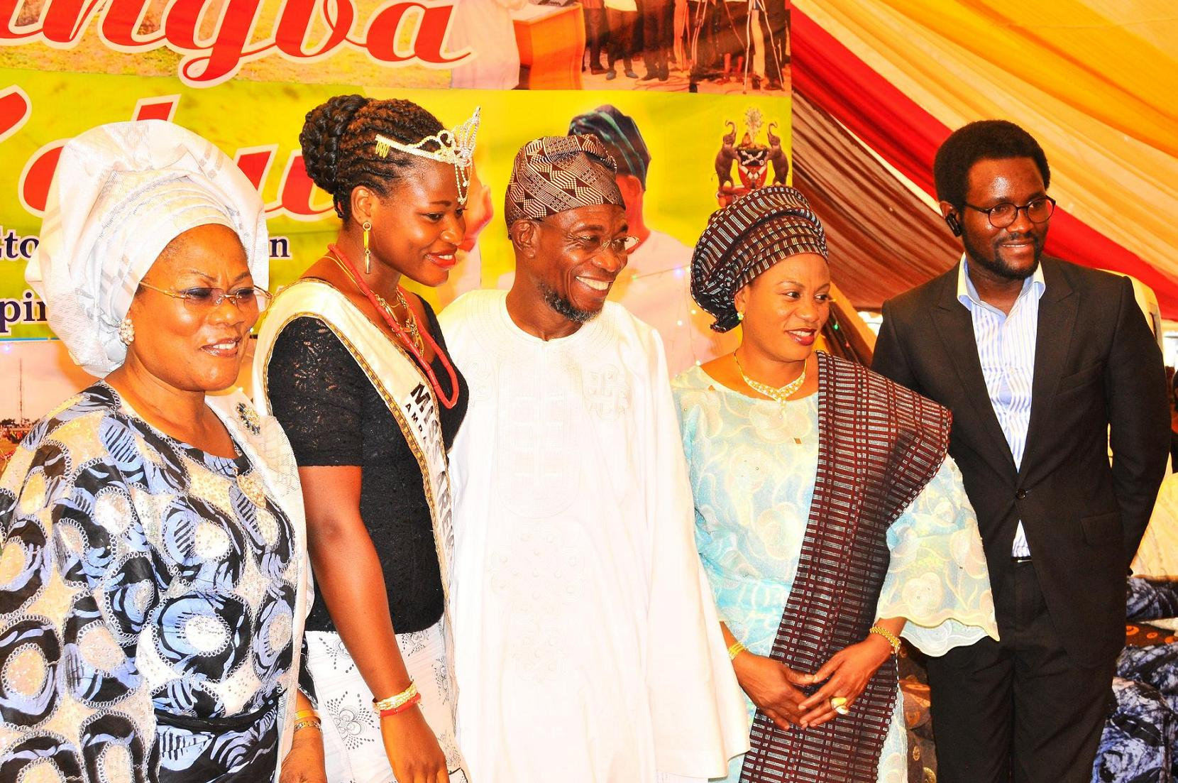 """From left, Deputy Governor State of Osun, Mrs Titi Laoye-Tomori; Winner Arewa Osun, Miss Adiatu Damilola; Governor, Ogbeni Rauf Aregbesola; his wife, Sherifat and Chief Executive Officer, Miss Arewa Beauty Pageant, Mr Oludare Kolade, after words of support for Aregbesola Second Term in office by people of Ijeshaland,  during the 6th edition of an interactive programme tagged, """"Gban-gba Dekun"""" in Ijesha South Federal Constituency consisting of Ilesa West, Ilesa East, Atakumosa East and Atakumosa West Local Governments at Ilesa High School, Ilesa, State of Osun last week"""