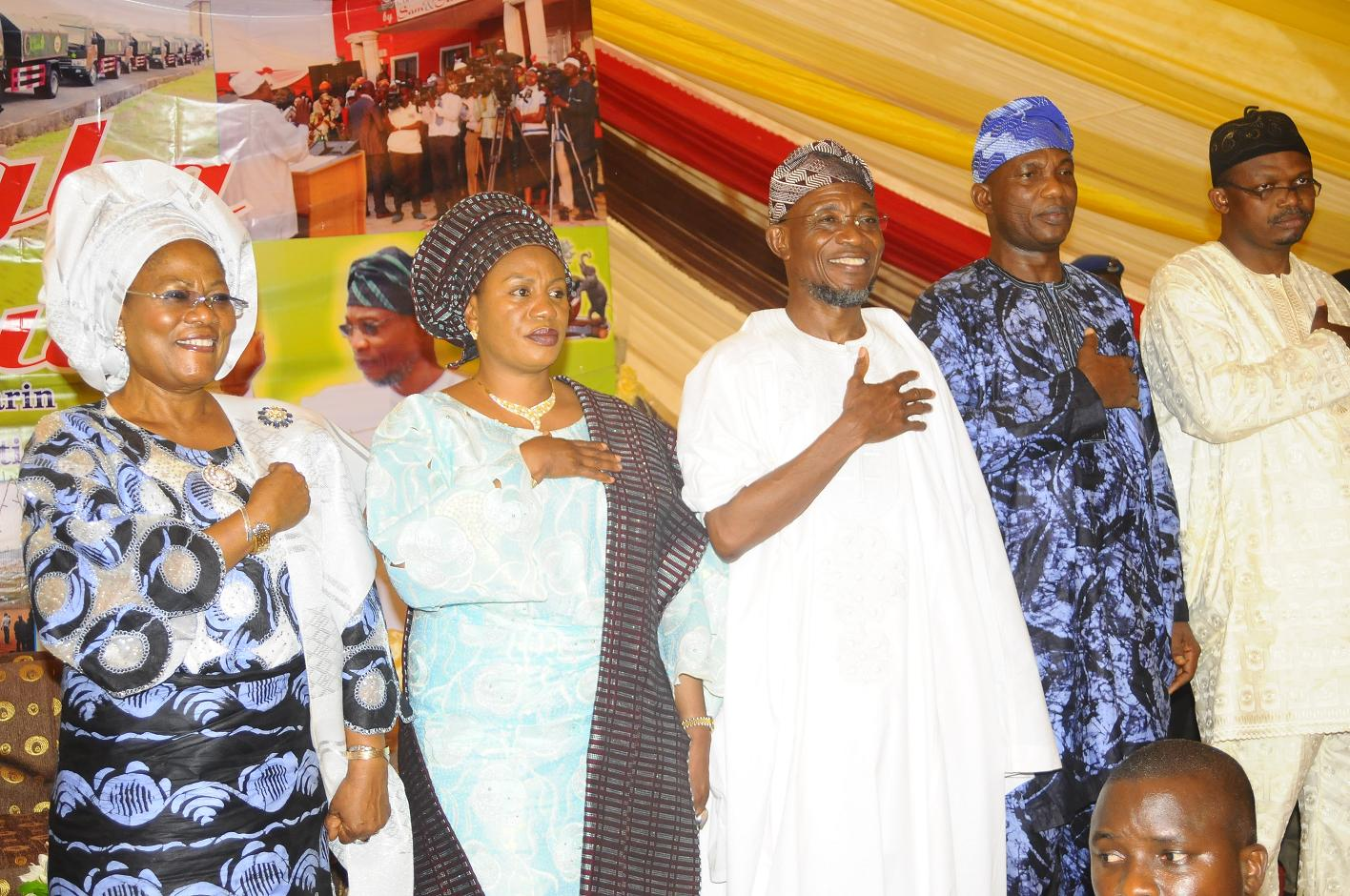 """From left, Deputy Governor State of Osun, Mrs Titi Laoye-Tomori; Wife of the Governor, Alhaja Sherifat Aregbesola; Governor, Ogbeni Rauf Aregbesola; Secretary to the State Government of Osun, Alhaji Moshood Adeoti and Member House of Representatives representing Atakunmosa East/West and Ilesa East/West, Honourable Ajibola Famurewa,  after words of support for Aregbesola Second Term in office by people of Ijeshaland,  during the 6th edition of an interactive programme tagged, """"Gban-gba Dekun"""" in Ijesha South Federal Constituency consisting of Ilesa West, Ilesa East, Atakumosa East and Atakumosa West Local Governments at Ilesa High School, Ilesa, State of Osun last week"""