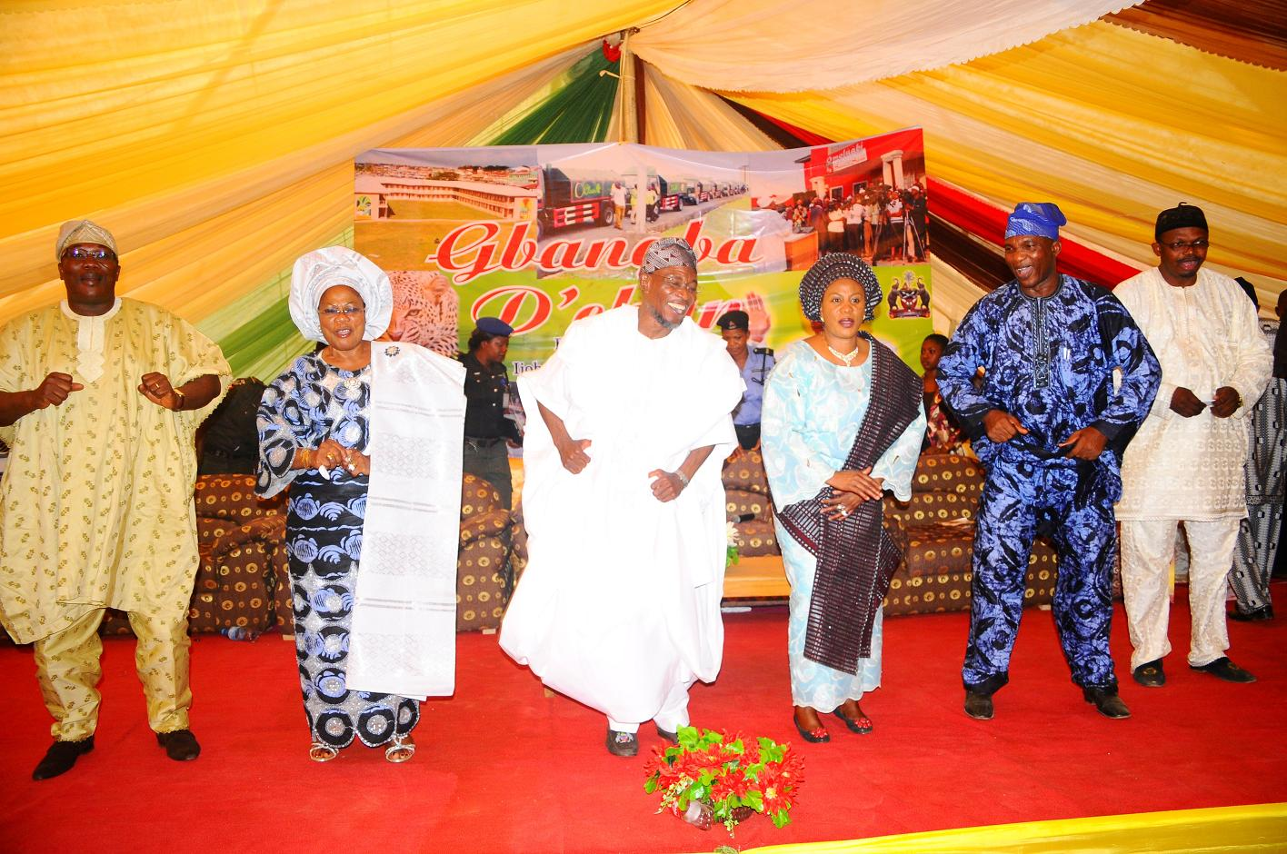 """From left, Speaker State Assembly of Osun, Honourable Najeem Salam; Deputy Governor State of Osun, Mrs Titi Laoye-Tomori; Governor, Ogbeni Rauf Aregbesola; his Wife, Sherifat;  Secretary to the State Government of Osun, Alhaji Moshood Adeoti and Member House of Representatives representing Atakunmosa East/West and Ilesa East/West, Honourable Ajibola Famurewa, after words of support for Aregbesola Second Term in office by people of Ijeshaland, during the 6th edition of an interactive programme tagged, """"Gban-gba Dekun"""" in Ijesha South Federal Constituency consisting of Ilesa West, Ilesa East, Atakumosa East and Atakumosa West Local Governments at Ilesa High School, Ilesa, State of Osun last week"""