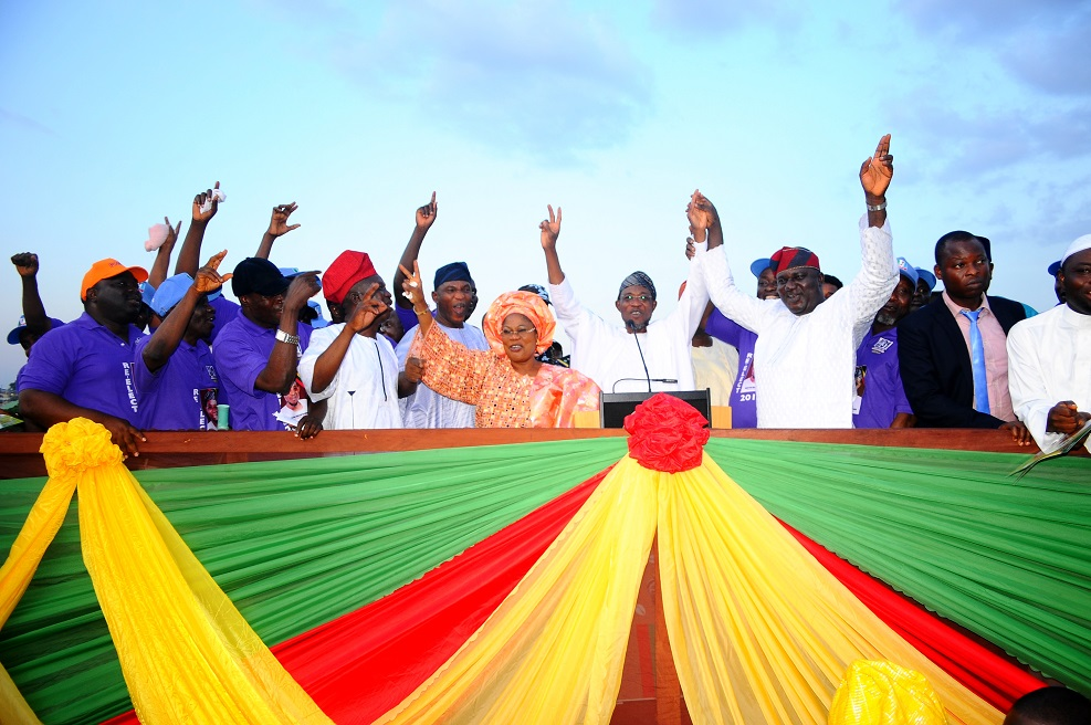 Governor State of Osun, Ogbeni Rauf Aregbesola (4th right); his Deputy, Mrs Titi Laoye-Tomori (5th right); Interim Chairman, All Progressive Congress, Elder Adebiyi Adelowo (3rd right); Secretary to the State Government, Alhaji Moshood Adeoti (5th left) and others, during the Governor's Endorsement for Second Term Running by all the thirty one Local Government Executive Secretaries in the State at Nelson Mandela Freedom Park, Osogbo the State of Osun at the weekend.