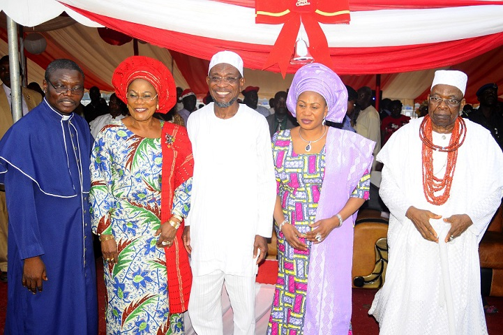 From left, Chairman Christian Association of Nigeria (CAN) Osun Chapter, Reverend Elisha Ogundiya; Deputy Governor State of Osun, Mrs Titi Laoye-Tomori; Governor, Ogbeni Rauf Aregbesola; his Wife, Sherifat and Owa Obokun of Ijeshaland, Oba Gabriel Aromolaran, during the Christmas Carol Cantata 2013 organised by the State Government in conjunction with CAN Osun Chapter, at Government House, Osogbo, State of Osun
