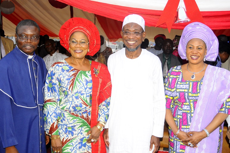 From left, Chairman Christian Association of Nigeria (CAN) Osun Chapter, Reverend Elisha Ogundiya; Deputy Governor State of Osun, Mrs Titi Laoye-Tomori; Governor, Ogbeni Rauf Aregbesola and his Wife, Sherifat, during the Christmas Carol Cantata 2013 organised by the State Government in conjunction with CAN Osun Chapter, at Government House, Osogbo, State of Osun