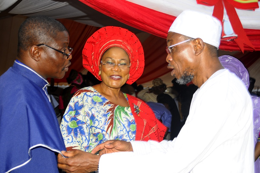 From right, Governor State of Osun, Ogbeni Rauf Aregbesola; his Deputy, Mrs Titi Laoye-Tomori and Chairman, Christian Association of Nigeria (CAN) Osun Chapter, Reverend Elisha Ogundiya, during the Christmas Carol Cantata 2013 organised by the State Government in conjunction with CAN Osun Chapter, at Government House, Osogbo, State of Osun