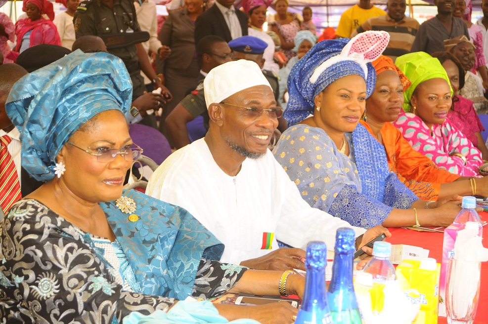 From left, Deputy Governor State of Osun, Mrs Titi Laoye-Tomori; Governor, Ogbeni Rauf Aregbesola; his Wife, Sherifat; Commissioner for Women and Children Affairs, Mrs Mofolake Adegboyega and Mrs Foluke Amere, during the Xmas/ End of the Year Party organised for the State Children by the Wife of the State Governor in collaboration with the Ministry of Women and Children Affairs, at Government