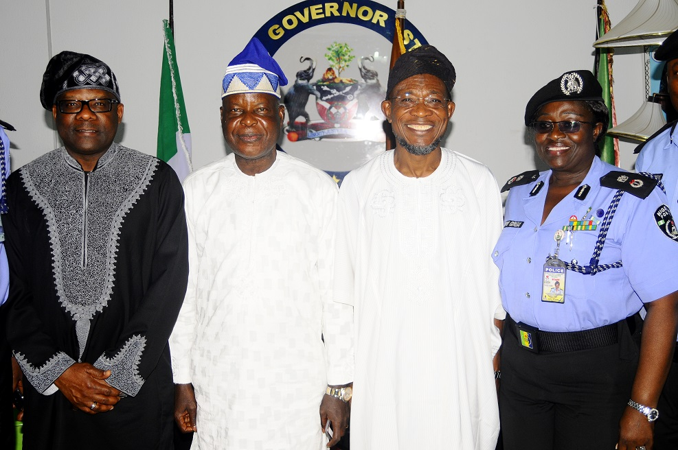 Governor State of Osun, Ogbeni Rauf Aregbesola (2nd right); Chairman, Police Service Commission, Sir Mike Okiro (2nd left); Commissioner of Police, Osun Command, Mrs Dorothy Gimba (right) and Dr Sylvester Odije (left), during a Courtesy visit to the governor in Government House, Osogbo, State of Osun on Friday 27-12-2013