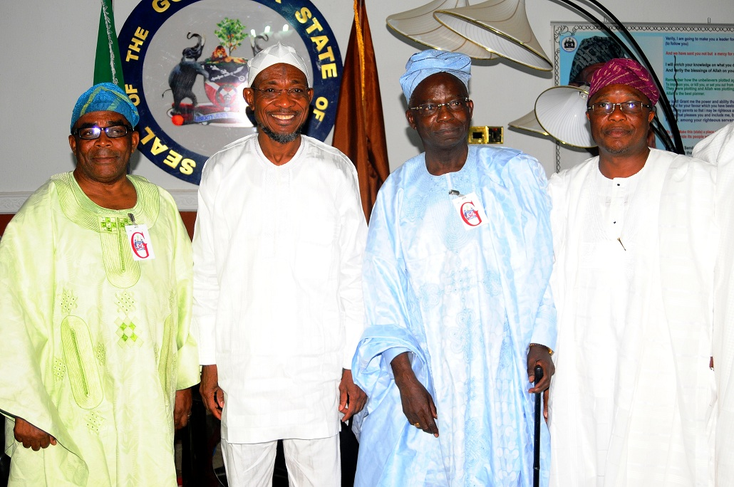 Governor State of Osun, Ogbeni Rauf Aregbesola (2nd left); Obasewa of Ife, Chief John Odeyemi (left); Chairman, Osun State University Governing Board, Professor Gabriel Olawoyin (2nd right) and Prince of Ife, Ade Adefioye (right), during the Dignitaries from Ile-Ife's solidarity  Visit to Mr Governor in Osogbo, State of Osun on Tuesday 07-01-2014