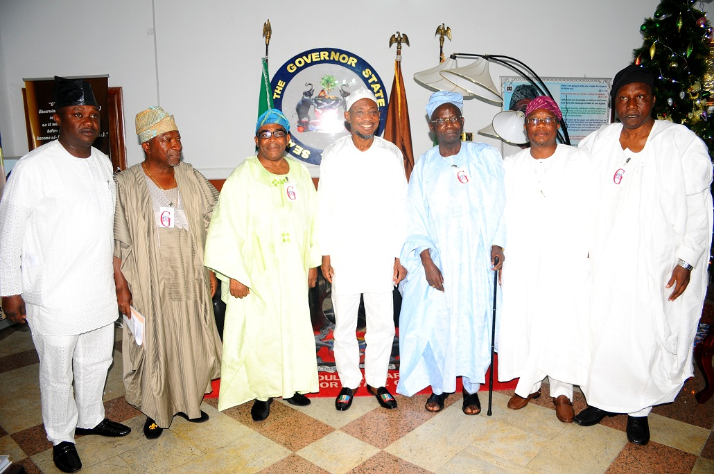 Governor State of Osun, Ogbeni Rauf Aregbesola (centre); Aare of Ife, Aare Muyiwa Omisade (2nd left); Chairman, Osun State University Governing Board, Professor Gabriel Olawoyin (3rd right); Member National Assembly - Osun East Senatorial District, Senator Babajide Omoworare (left); Obasewa of Ife, Chief John Odeyemi (3rd left); President Ife Development Board, Professor Muib Opeloye (right) and Prince of Ife, Ade Adefioye (2nd right), during the Dignitaries from Ile-Ife's solidarity  Visit to Mr Governor in Osogbo, State of Osun on Tuesday 07-01-2014