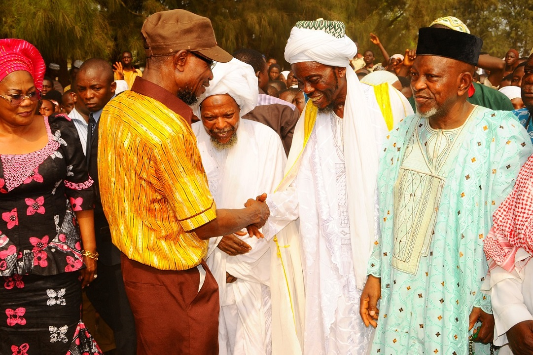 From left, Deputy Governor, State of Osun, Mrs Titi Laoye-Tomori; Governor  Rauf Aregbesola; Chairman Isokan Musulumi, Iwo, Sheikh Abdulrasheed Fasasi; Chief Imam Iwo, Shiekh Mudashir Akinlade and Otun Imam of Iwo, Alhaji Fatai Olododo, after a Peace Meeting between Muslim and Christian parents over dress code crisis  in Baptist High School, Iwo, State of Osun
