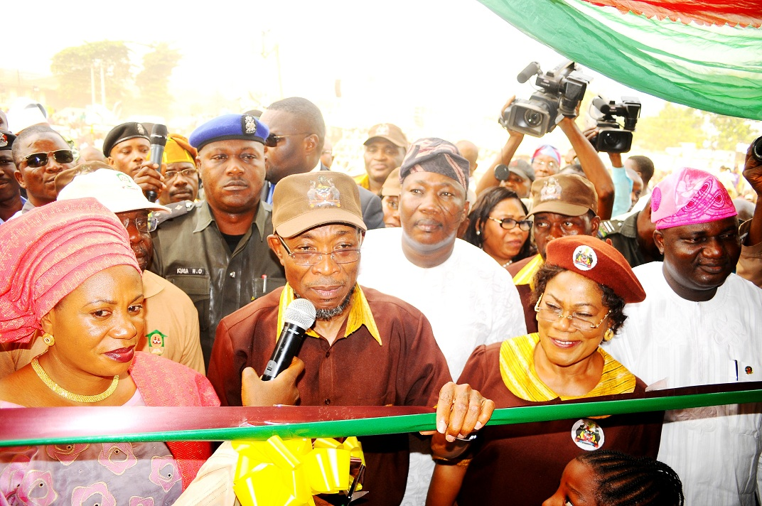 Governor State of Osun, Ogbeni Rauf Aregbesola;  his wife, Sherifat (left); his Deputy, Mrs Titi Laoye-Tompori (2nd right); Speaker of the State House of Assembly, Hon. Najeem Salam (middle in white); State acting Chairman, All Peoples Congress (APC), Elder Adelowo Adebiyi (right) and others,  during the official commissioning of Baptist Central Elementary School in Ilare, Ile-Ife, the State of Osun on Tuesday 18-02-2014