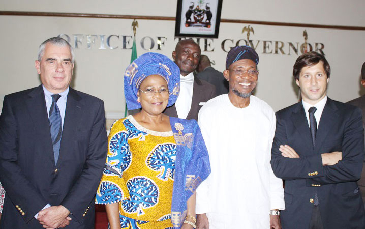 Governor State of Osun, Ogbeni Rauf Aregbesola; his deputy, Mrs. Titi Laoye-Tomori; Founder of RESUL Company, Mr Carlos Torres (left) and Exort Manager of RESUL company, Mr Duarte Amaral, during the introduction of their company to the Governor in his office, Abere, Osogbo on Thursday 07-02-2014