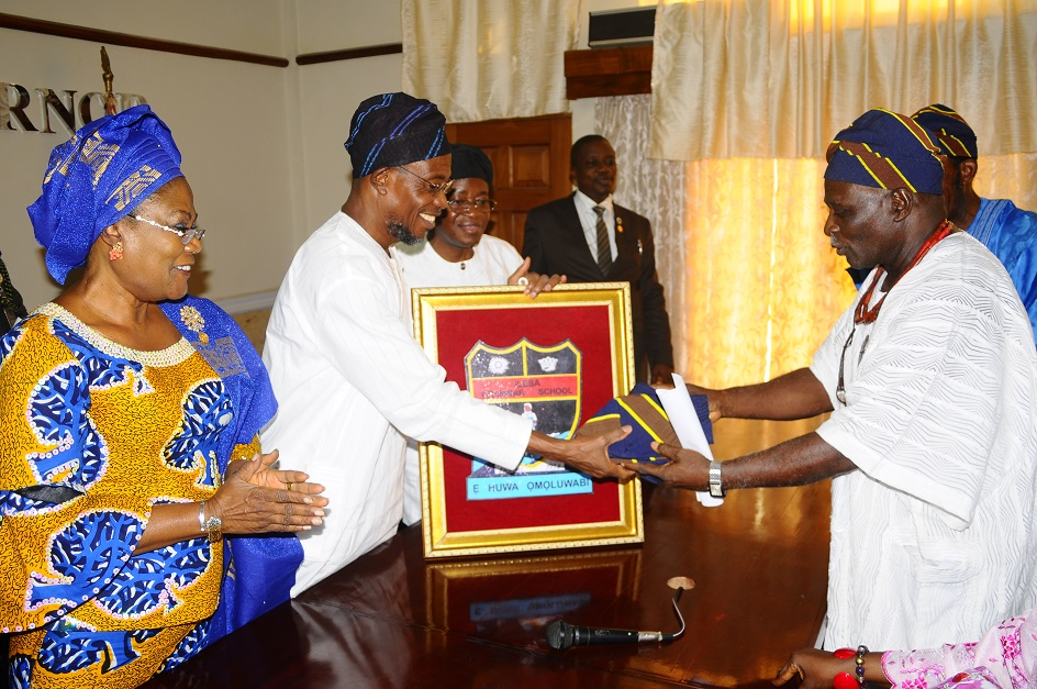From left, Deputy Governor, State of Osun, Mrs Titi Laoye-Tomori; Governor, Ogbeni Rauf Aregbesola; Cheif of Staff to the Governor, Alhaji Gboyega Oyetola; Head of Service, Mr Olayinka Owoeye and National Vice President, Ilesa Grammar School Old Students Association, Oba Adedoyin Adelekun, during a Courtesy Visit to the Governor as part of activities to Commemorate the 80th Anniversary of the School at the Governor's office, Osogbo, State of Osun on Wednesday 05-02-2014