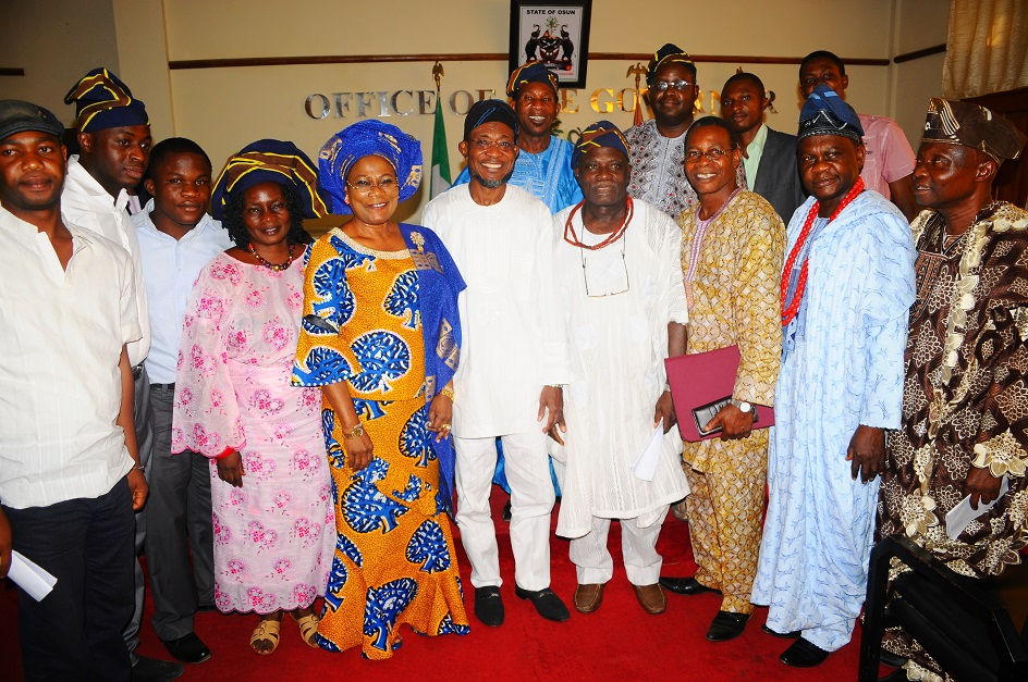Governor State of Osun, Ogbeni Rauf Aregbesola (centre); his Deputy, Mrs Titi Laoye-Tomori (5th left); National Vice President, Ilesa Grammar School Old Students Association, Oba Adedoyin Adelekun (4th right); National Treasurer of the Association, Oba Bode Pariola (2nd right); Financial Secretary, Pastor Lase Odeyemi (3rd right); National Public Relation Officer (PRO), Issac Odeyemi (3rd left); Principal of the School, Reverend Donald Oke (right) and others, during a Courtesy Visit to the Governor as part of activities to Commemorate the 80th Anniversary of the School at the Governor's office, Osogbo, State of Osun on Wednesday 05-02-2014