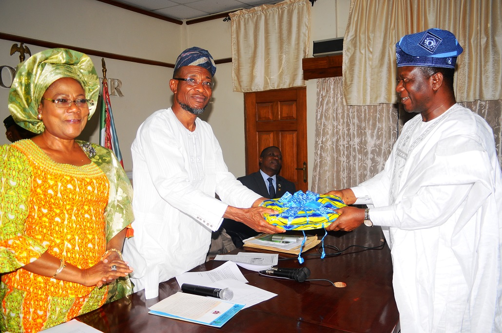 From left, Deputy Governor State of Osun, Mrs Titi Laoye-Tomori; Governor, Ogbeni Rauf Aregbesola; and Zonal Director South West, National Directorate of Employment (NDE), Mr Ola Martins, during a Courtesy Visit to the Governor in Osogbo on Tuesday