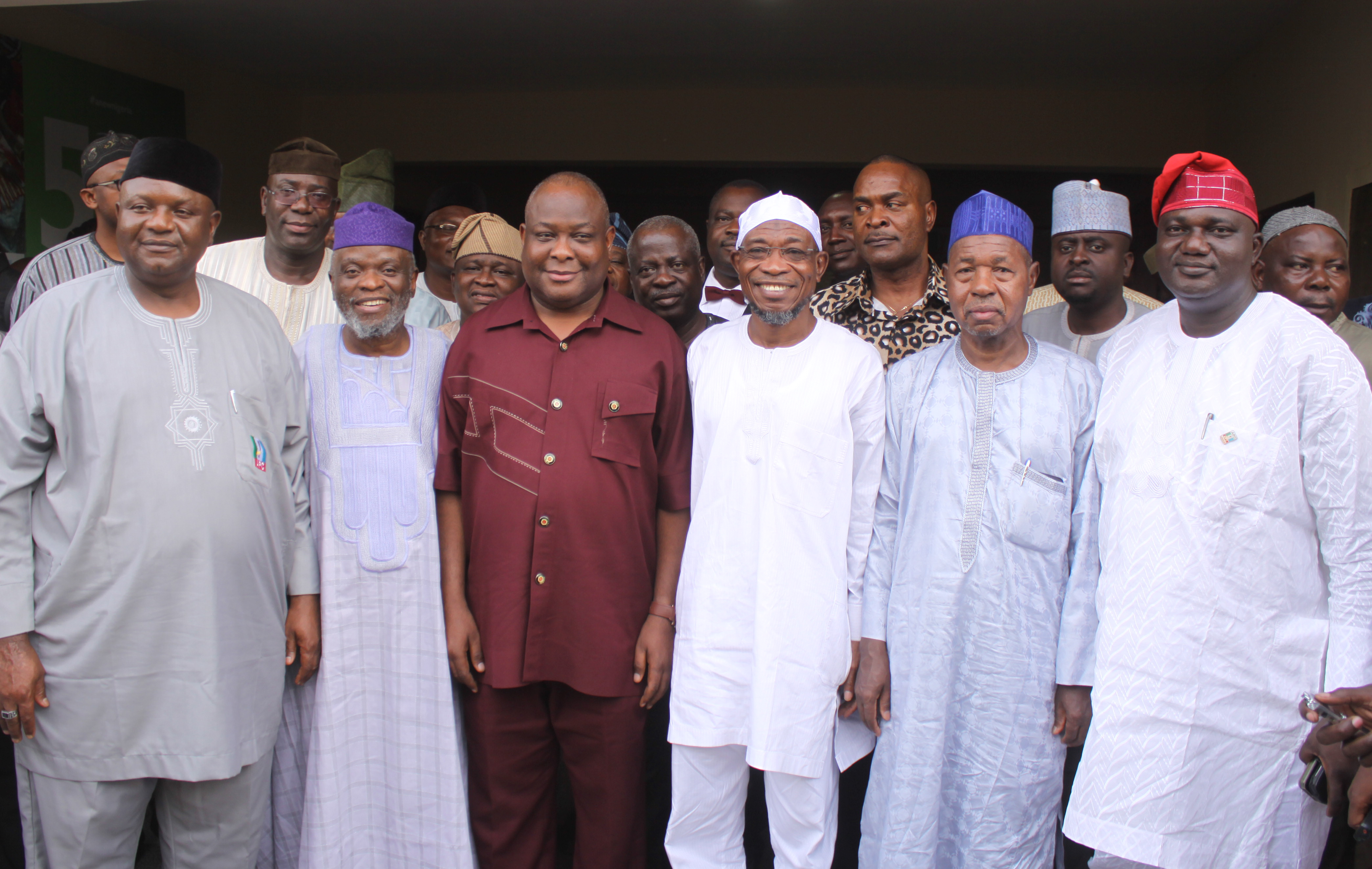 Osita Isunaso; Deputy National Chairman, APC, SenatorAminu Bello Masari and Osun State Governor Raufu Aregbesola, during the submission of intention form for 2nd term in office by Aregbesola at APC Secretariat, Abuja on Monday 24-03-2014