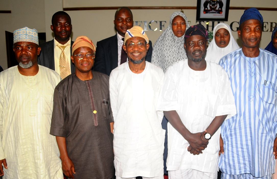 Governor State of Osun, Ogbeni Rauf Aregbesola (centre); Chief of Staff to the Governor, Alhaji Gboyega Oyetola (2nd left); Secretary to the State Government, Alhaji Moshood Adeoti (right); Commissioner for Home affairs, Culture and Tourism, Honourable Sikiru Ayedun (2nd right); Senior Special Assistant to the Governor on Religious matters, Alhaji Dhikirullah Hassan (left) and others, during the Submission of Report on 2013 Hajj Operation to the Governor in his Office, Abere, State of Osun on Wednesday 19-03-2014