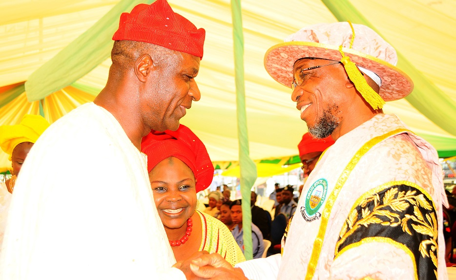 Governor State of Osun, Ogbeni Rauf Aregbesola and Former Vice Chairman PDP South West, Alhaji Tajudeen Aladipo during the 3rd Convocation for the Conferment of First Degrees and Award of Prizes at Osun State University, Osogbo on  Saturday 29/03/2014.