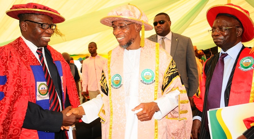 Governor State of Osun, Ogbeni Rauf Aregbesola(middle); Pro-Chancellor and Chairman of Council Osun State University, Osogbo, Professor Gabriel Adesiyan Olawoyin(right) and Former Vice - Chancellor, Professor, Adebisi Balogun(left) during the 3rd Convocation for the Conferment of First Degrees and Award of Prizes at Osun State University, Osogbo on  Saturday 29/03/2014.