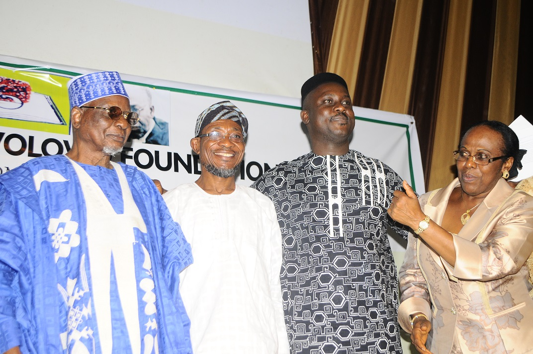 Governor State of Osun,Ogbeni Rauf Aregbesola(2nd left); Chairman National Summit Group, Alhaji Tanko Abubakar Yakassai (left); Professor of African Literature & Culture, Carleton University, Ottawa, Canada, Professor Pius Adesanmi(2nd right) and Executive Director Obafemi Awolowo Memorial Symposium, Dr (Mrs) Tokunbo Awolowo-Dosumu, during the 2014 Obafemi Awolowo Memorial Symposium, at Nigeria Employer Consultative Association ( NECA ) House, Alausa, Ikeja Lagos on Tuesday 4/03/2014.