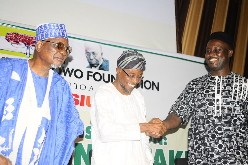 Governor State of Osun, Ogbeni Rauf Aregbesola(middle); Chairman National Summit Group, Alhaji Tanko Abubakar Yakassai(left) and Professor of African Literature & Culture, Carleton University, Ottawa, Canada, Professor Pius Adesanmi during the 2014 Obafemi Awolowo Memorial Symposium, at Nigeria Employer Consultative Association ( NECA ) House, Alausa, Ikeja Lagos on Tuesday 4/03/2014.